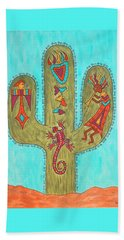 Beach Sheet featuring the painting Saguaro Soiree by Susie WEBER