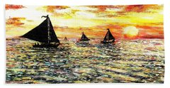 Beach Towel featuring the painting Sail Away With Me by Shana Rowe Jackson