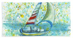 Beach Towel featuring the painting Sail On Maui by Darice Machel McGuire