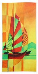 Beach Towel featuring the painting Sail To Shore by Tracey Harrington-Simpson