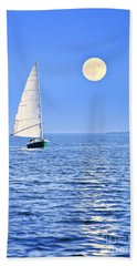 Sailboat At Full Moon Beach Towel