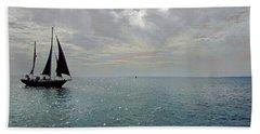 Sailboat At Sea  Beach Sheet