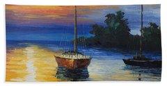 Sailboat At Sunset Beach Sheet
