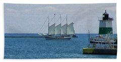sailboat on Lake Michigan Beach Towel