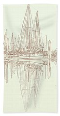 Beach Towel featuring the photograph Sailboat On Liberty Bay by Greg Reed