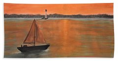 Sailboat Sunset Beach Towel