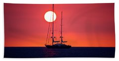Sailboat Sunset Beach Sheet by Venetia Featherstone-Witty