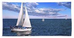 Sailboats At Sea Beach Sheet
