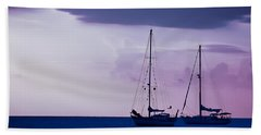 Beach Towel featuring the photograph Sailboats At Sunset by Don Schwartz