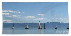 Sailboats In Blue Beach Towel