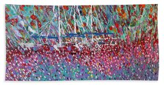 Sailing Among The Flowers Beach Towel by George Riney