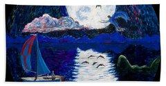Sailing In The Moonlight Beach Towel