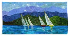 Sailing Beach Towel by Laura Forde