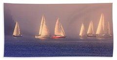 Sailing On A Misty Ocean Beach Towel