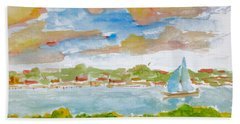 Sailing On The River Beach Towel