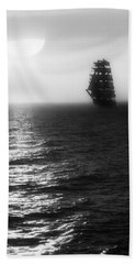 Sailing Out Of The Fog - Black And White Beach Sheet