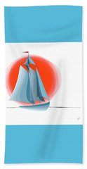 Sailing Red Sun Beach Towel
