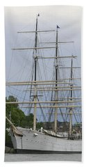 Beach Towel featuring the photograph Sailing Ship In Harbor by Victoria Harrington