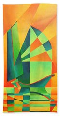 Beach Towel featuring the painting Sails At Sunrise by Tracey Harrington-Simpson