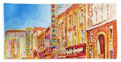 Beach Sheet featuring the painting Saint Catherine Street Montreal by Carole Spandau