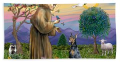 Saint Francis And Doberman Pinscher Beach Sheet