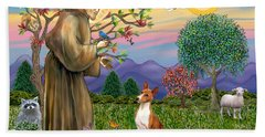 Saint Francis Blesses A Basenji Beach Towel