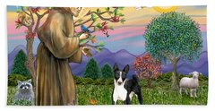 Saint Francis Blesses A Black And White Basenji Beach Towel