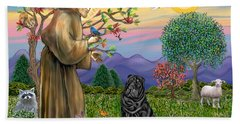 Saint Francis Blesses A Black Chinese Shar Pei Beach Towel
