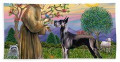 Saint Francis Blesses A Black Great Dane Beach Sheet