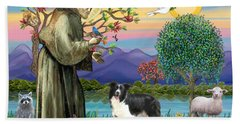 Saint Francis Blesses A Border Collie Beach Towel