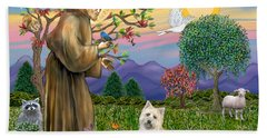Saint Francis Blesses A Cairn Terrier Beach Towel