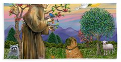 Saint Francis Blesses A Chinese Shar Pei Beach Towel
