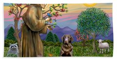 Saint Francis Blesses A Chocolate Labrador Retriever Beach Sheet