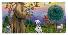 Saint Francis Blesses A Dalmatian Beach Sheet