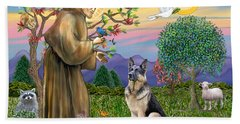 Saint Francis Blesses A German Shepherd Beach Towel