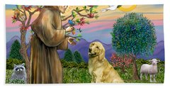 Saint Francis Blesses A Golden Retriever Beach Towel