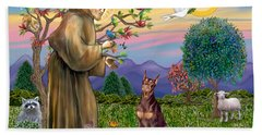 Saint Francis Blesses A Red Doberman Beach Towel