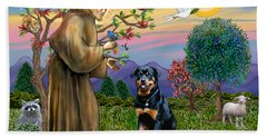 Saint Francis Blesses A Rottweiler Beach Sheet