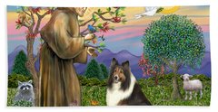 Saint Francis Blesses A Sable And White Collie Beach Sheet