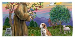 Saint Francis Blesses A Welsh Springer Spaniel Beach Sheet