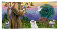 Saint Francis Blesses An English Bulldog Beach Towel