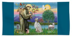 Saint Francis Blesses An English Setter Beach Towel