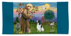 Saint Francis Blesses An English Springer Spaniel Beach Towel