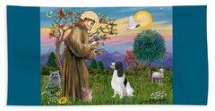 Saint Francis Blesses An English Springer Spaniel Beach Sheet