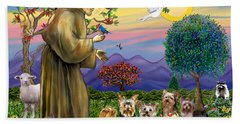 Saint Francis Blesses Seven Yorkies Beach Towel