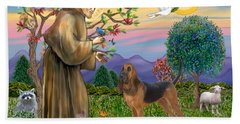 Saint Francis Blessing A Bloodhound Beach Sheet