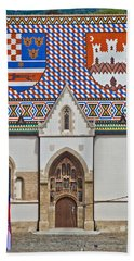 Saint Mark Church Facade Vertical View Beach Sheet by Brch Photography