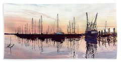 Saint Marys Marina   Shadows Light And Fire Beach Towel