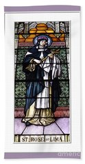 Saint Rose Of Lima Stained Glass Window Beach Towel