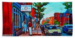 Beach Sheet featuring the painting Saint Viateur Bagel Shop by Carole Spandau